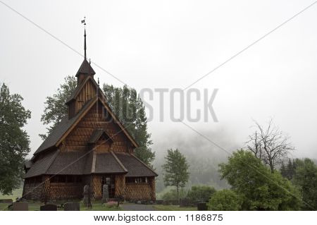 eidsborg stave church (stavkirke) - ancient norwegian wood church. the church was built during the first half of the 1200s. it's situated in telemark region of norway near the top of a very steep and very winding road up from dalen. poster