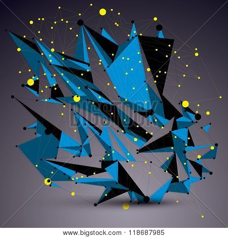 Geometric Blue Polygonal Structure With Yellow Lines Mesh, Vector Modern Lace Science And Technology