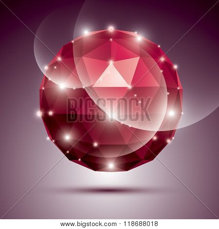 Abstract 3D Ruby Gala Sphere With Gemstone Effect, Red Glossy Orb Created From Triangles, Eps10.
