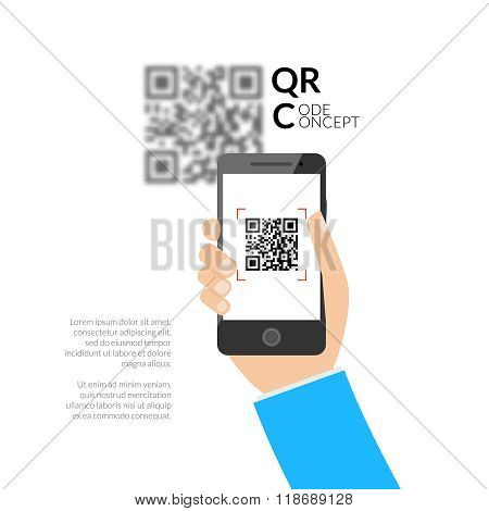 QR code scanning with mobile phone. Capture QR code on mobile phone. Symbol scanning QR code. Concep