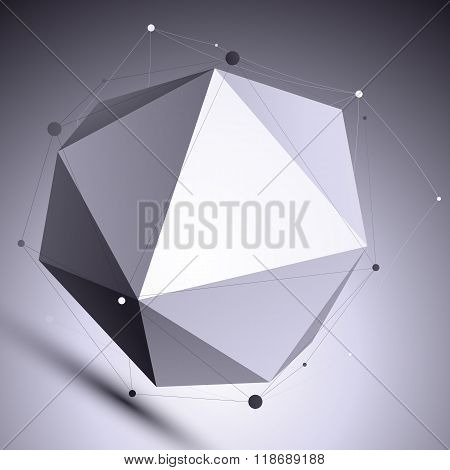 Vector Digital 3D Abstraction, Lattice Geometric Template, Perspective Wireframe Contrast Spherical