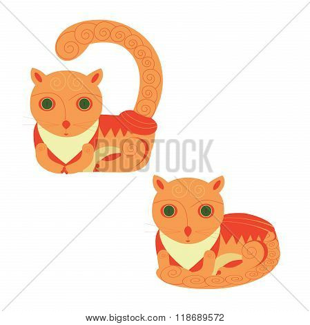Funny Foxy Cats Icons Vector Set. Isolated On White Background.