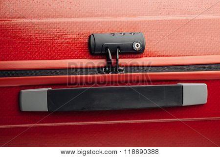 suitcase tsa lock, closeup view