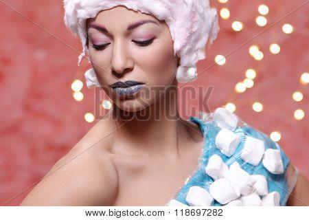 Weird. Woman in bizarre dress