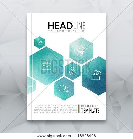 Business brochure report design template. Vector flyer layout, colorful watercolor polygonal backgro