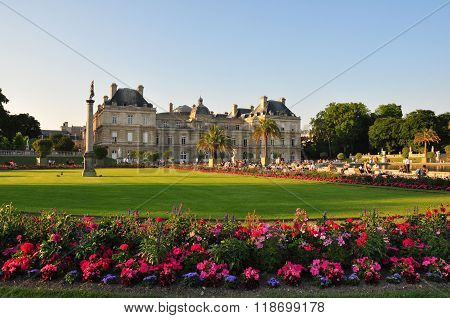 Luxembourg gardens in Paris France in the summer day.