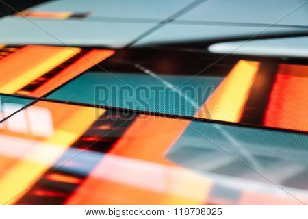Led Floor Technology Green And Orange Pattern