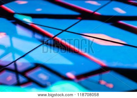 Led Floor Technology Bright Blue Pattern Electronic Reflection