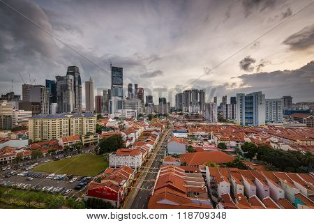 Old Shop Houses With Modern Buildings - Singapore