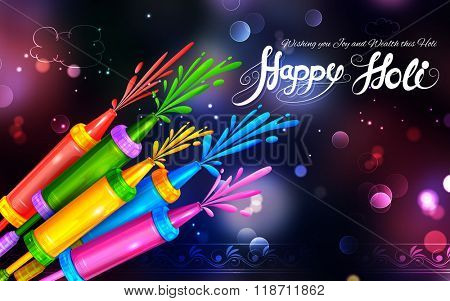illustration of colorful pichkari in Happy Holi background