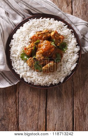 Indian Food: Madras Beef With Basmati Rice. Vertical Top View