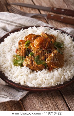 Indian Cuisine: Beef Madras With Basmati Rice Close-up On A Plate