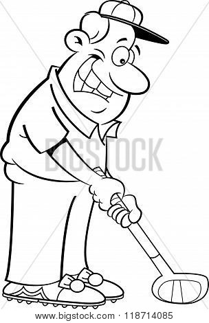 Cartoon man playing golf.