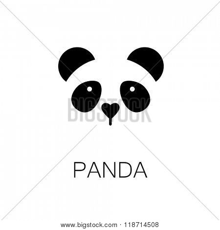 Panda. Simple panda sign. Wildlife element.