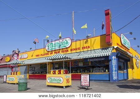 Nathan's Famous Restaurant On Coney Island
