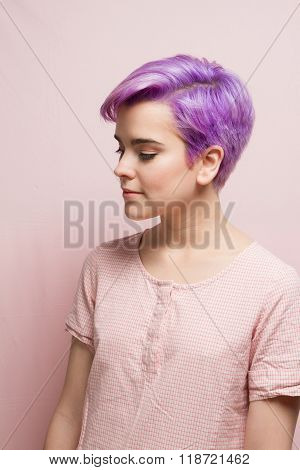 Violet-short-haired Woman In Pink Pastel.