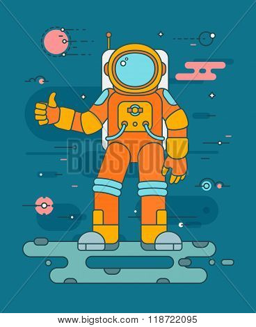 Astronaut landing planet colorful vector illustration in flat style. Astronaut in outerspace concept