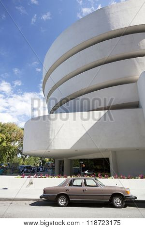New York City, 14 September 2015: South Facade Of Museum Guggenheim In New York City And Car