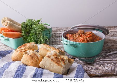 Spicy Goulash Soup With Paprika.