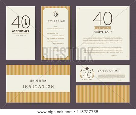 40th anniversary invitation cards template. Vector illustration.