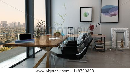 Panoramic Interior of Open Concept Office in Modern High Rise Apartment - Long Table with Chairs in Eclectic Home Office Space with View Through Window of City Skyline. 3d Rendering.