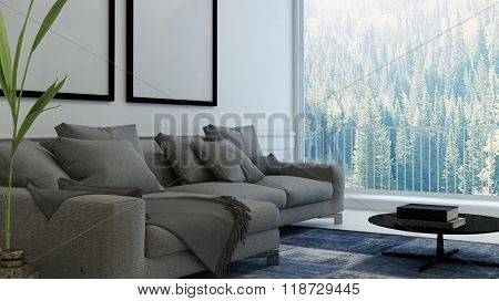 Comfortable living room interior with upholstered armchairs and blank picture frames on the wall. 3d Rendering.