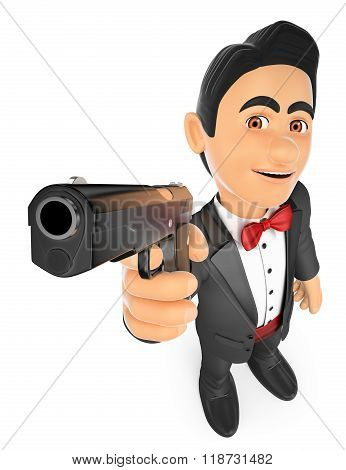 3d bow tie people. 3D Secret agent aiming with a gun. Isolated white background. poster