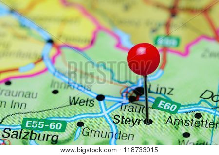 Steyr pinned on a map of Austria