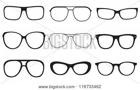 Glasses set. Sun glasses silhouettes isolated on white background. Vector illustration.