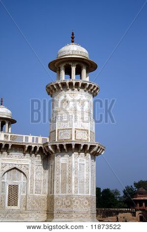 A tower at I'tmad-ud-Daula's Tomb at Agra.