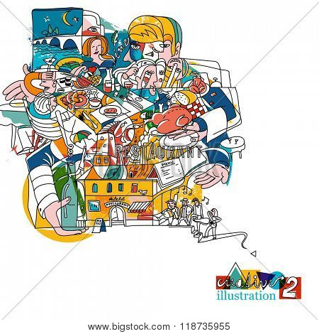 Cubist painting from restaurant atmosphere. Creative funky illustration