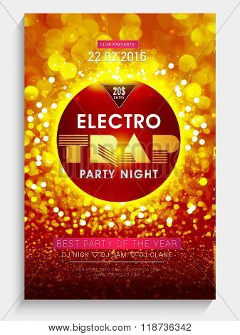 Creative shiny Flyer, Banner or Template design for Electro Trap, Best Party Night celebration.