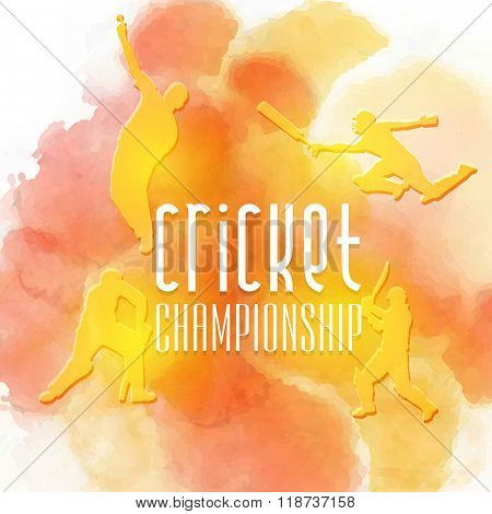 Creative illustration of Batsman in different playing actions on color splash background for Cricket Championship concept.