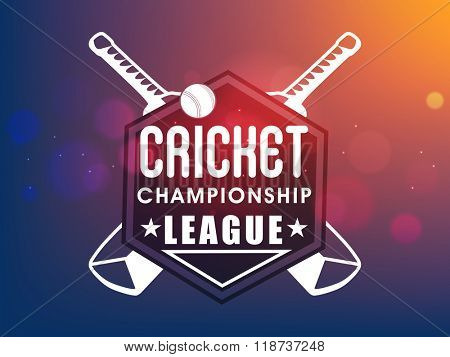 Creative sticker, tag or label design with bats and ball on shiny colorful background for Cricket Championship League concept.
