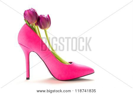 Ladies Pink High Heel Shoe With Tulips Inside, Isolated On White Background, For Valentine Or Womens