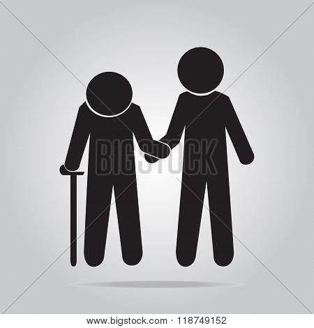 Man Helps Elderly Patient Icon