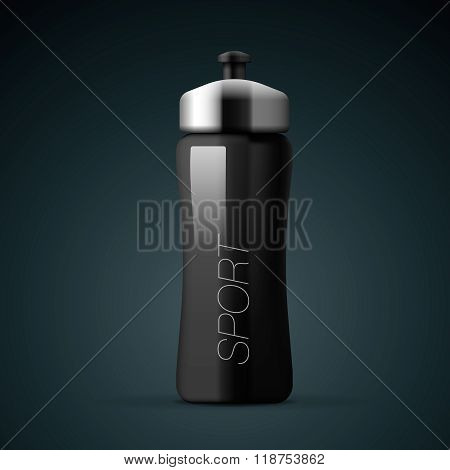 Sport nutrition drink bottle for fitness, on isolated background. Whey protein and gainer, vector il