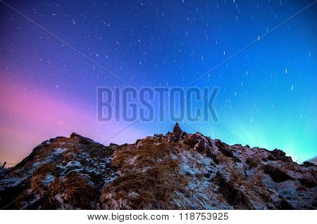 Star Trails Over The Winter Mountains Landscape.deogyusan Mountains In Korea.