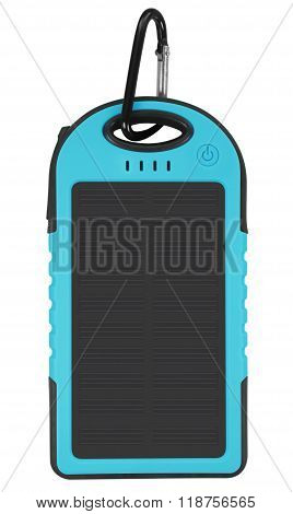 Power Bank With A Solar Panel - Light Blue