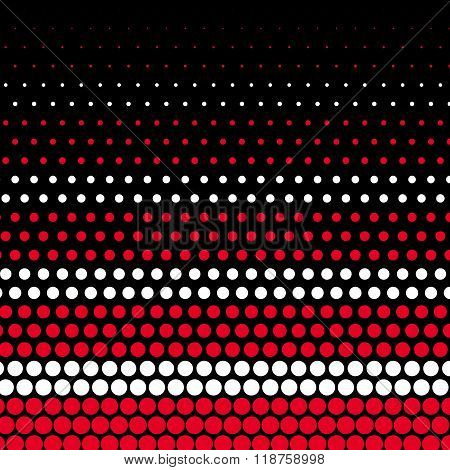 Cadmium red and white polka dot on black background