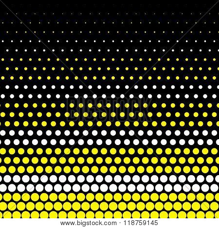 Cadmium yellow and white polka dot on black background