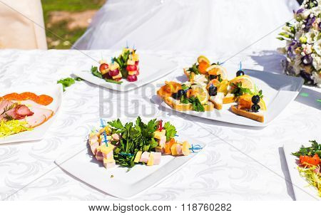 Fingerfood on appetizer table