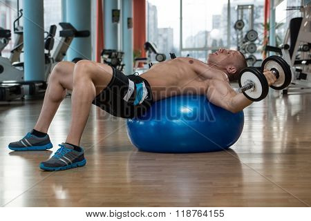 Dumbbell Incline Bench Press Workout On Fitness Ball
