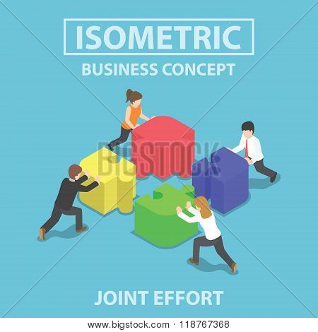 Isometric Business People Pushing And Assembling Four Jigsaw Puzzles