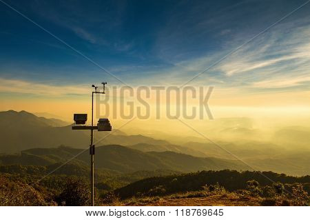 The Wind Anemometer With Landscape.