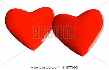 Valentine hearts over white
