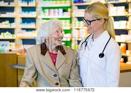 Elderly Patient Happy With Her Smiling Doctor