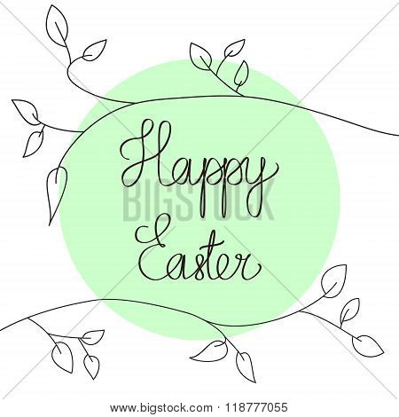 happy easter design isolated calligraphic text card background with floral frame