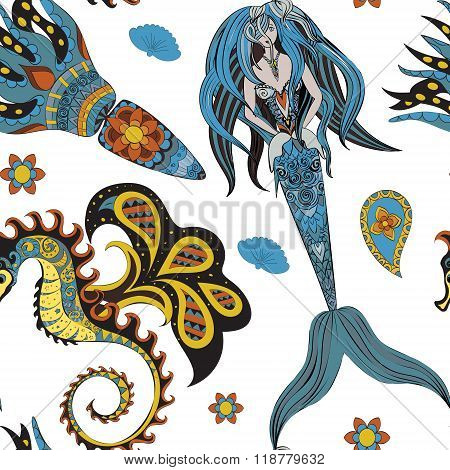 Hand drawn Ornamental Mermaid, sea-horse and calmar, seamless, Mermaid dark pattern, Girl with tall