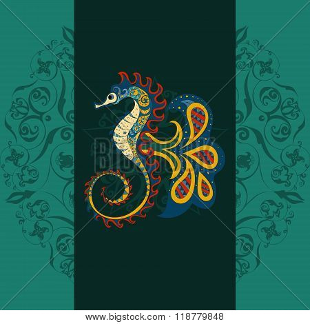 Hand drawn Ornamental  sea horse. sea horse dark background, sea horse in tribal. Doodle sea horse.